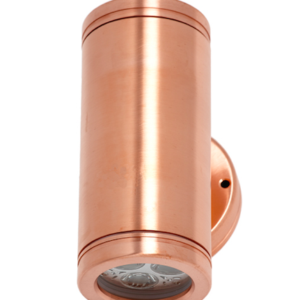 LED Two Directional Copper Light. This fixture is marine grade and looks tremendous on house pillars, walls, entrance ways or fences. Colours available: copper and silver.